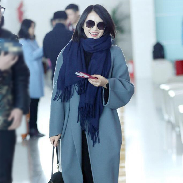 Gao Yuanyuan stars same style of Tibetan Qingchao cashmere scarf for womens winter Korean version