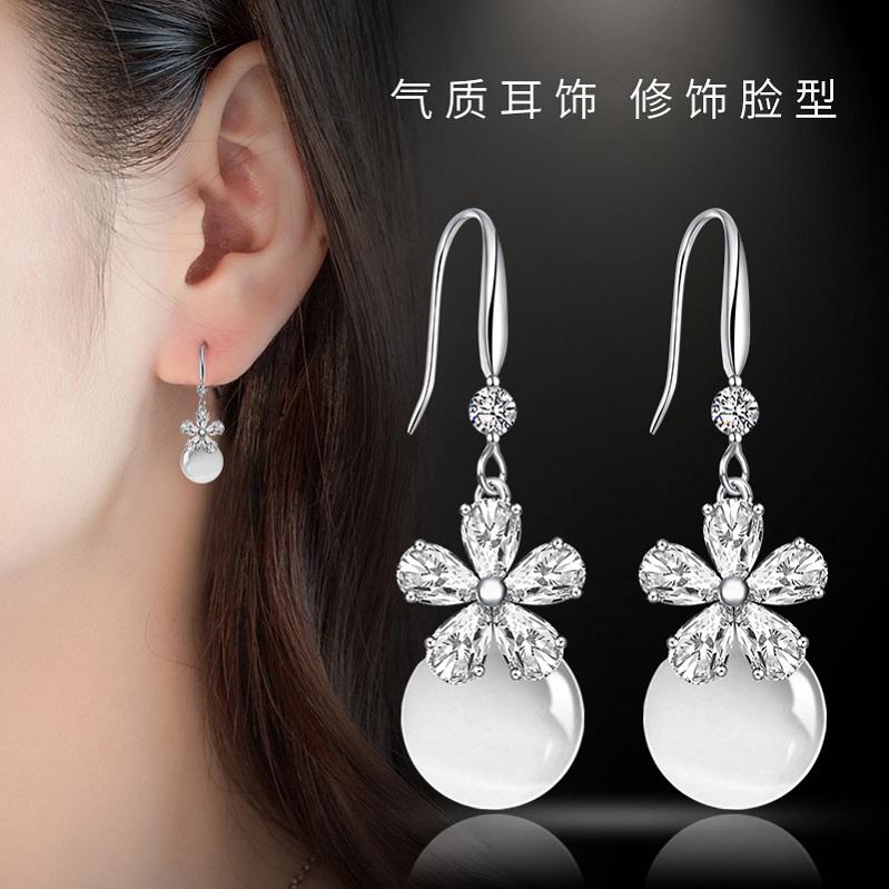 S925纯银针猫眼石耳环气质韩国百搭珍珠耳钉简约长款吊坠个性耳坠