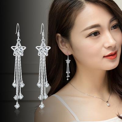 s925纯银五角星流苏长款气质女耳环