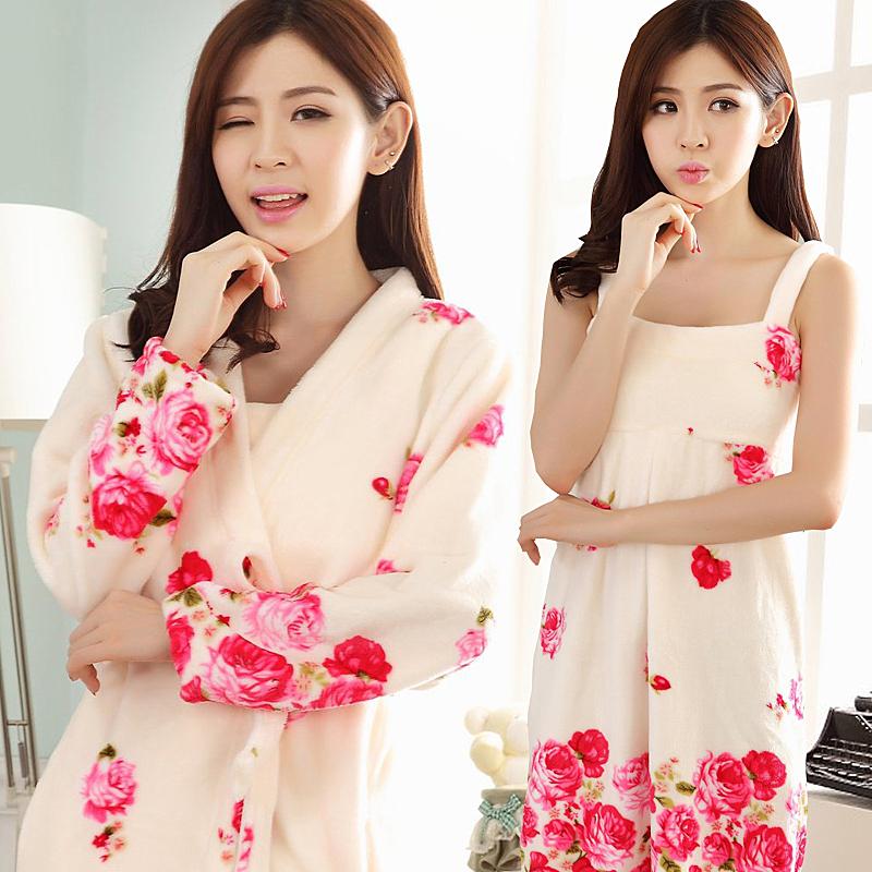 Корейский пижама женщина зима коралл дамское белье с длинными рукавами плюс толстые фланель ночное белье два рукава халаты домой одежда осень