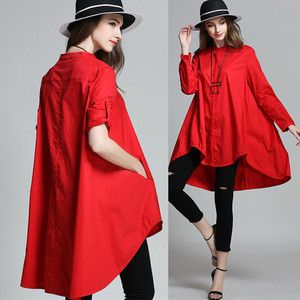 现货包邮 2021春秋新款红色韩版长袖上衣大码女装宽松立领衬衫女
