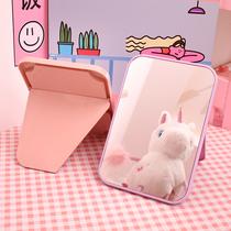 创意台式便携随身化妆镜大桌面折叠公主镜可爱宿舍桌面梳妆小镜子