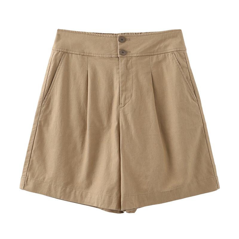 客供法国亚麻 显瘦高腰A字型休闲西装短裤 后腰带松紧 女式显腿长