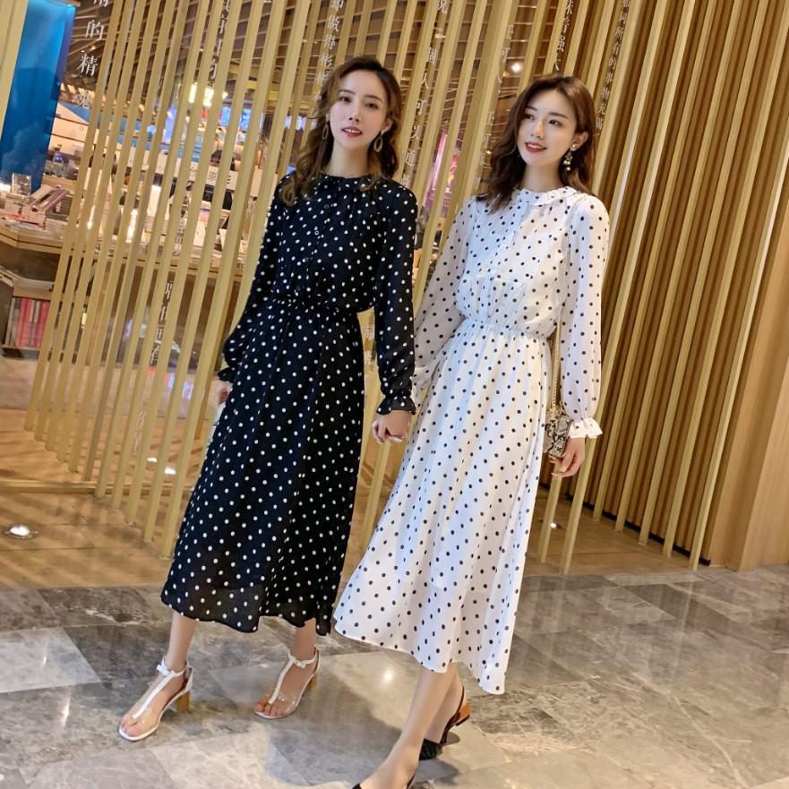 法式复古波点连衣裙两件套雪纺裙(用270元券)
