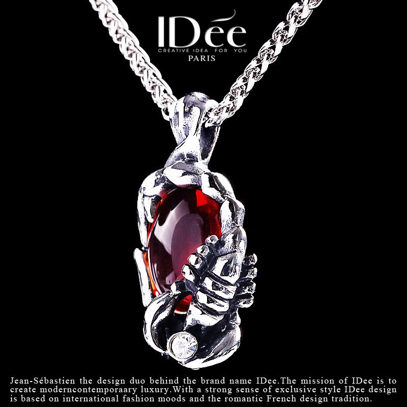 法国IDee蝎子红宝石项链男潮 嘻哈创意吊坠饰品天蝎座配饰礼物男