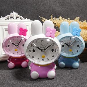 迷你小白兔闹钟可爱创意兔子闹铃萌萌兔儿童闹钟座钟床头电子钟