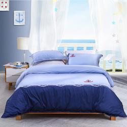 富安娜圣之花家纺纯棉四件套单人1.2m学生宿舍全棉双人1.8米床品