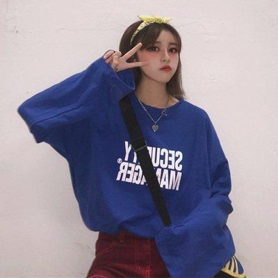 2019韩版chic字母印花长袖秋季t恤