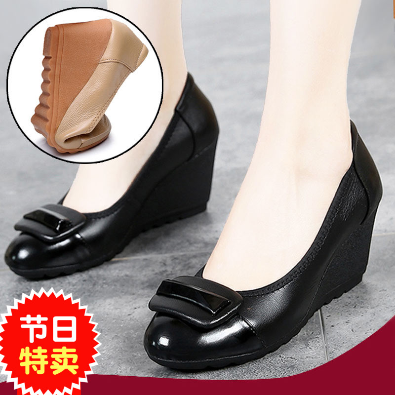 Spring, summer and autumn round head high heels leather womens single shoes non slip slope heel work shoes black leather shoes professional work shoes 34