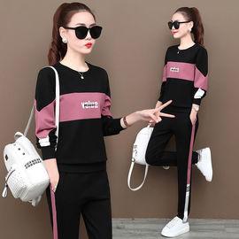2020春秋新款跑步运动套装女休闲韩版宽松拼接卫衣长裤大码两件套