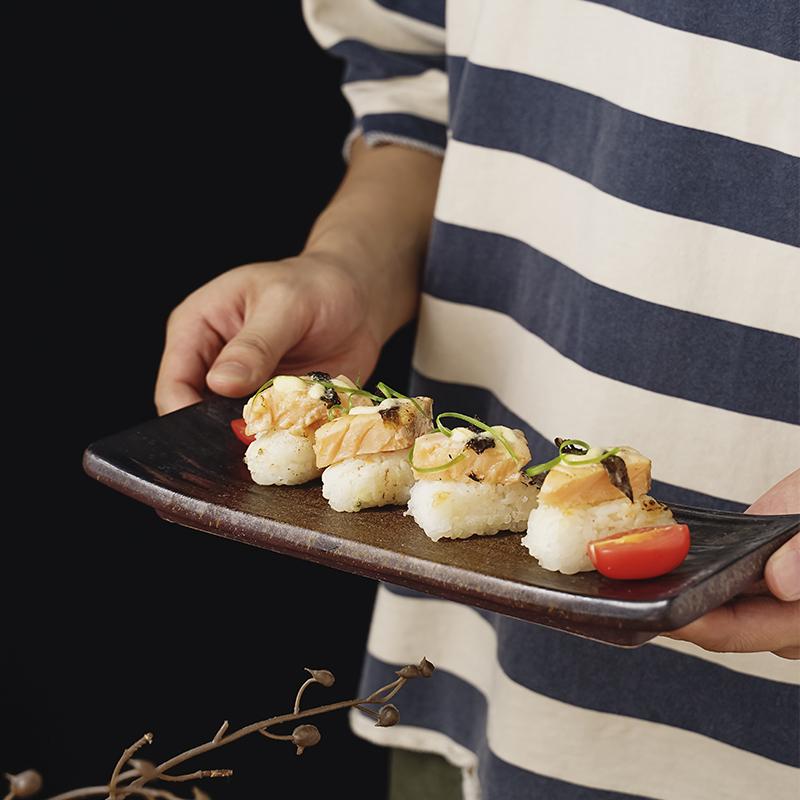 日式陶瓷寿司盘子长方形火锅店复古餐盘商用牛肉摆盘创意点心甜品