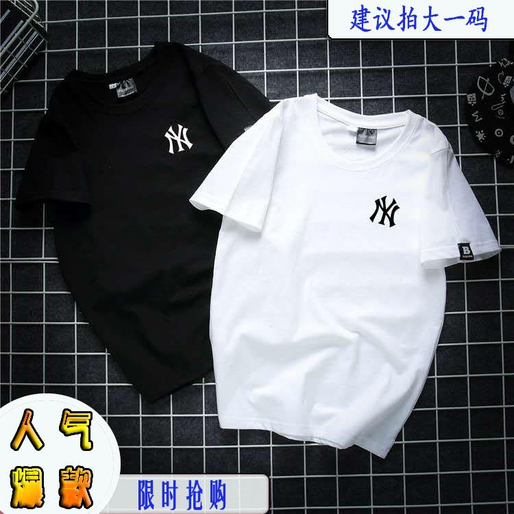 Short sleeve 2020 new womens T-shirt womens loose Korean version ins trend couple pure cotton half sleeve top womens summer