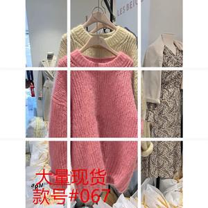復古大款毛衣女寬松外穿套頭慵懶風waitmore粉色針織衫很仙森系秋