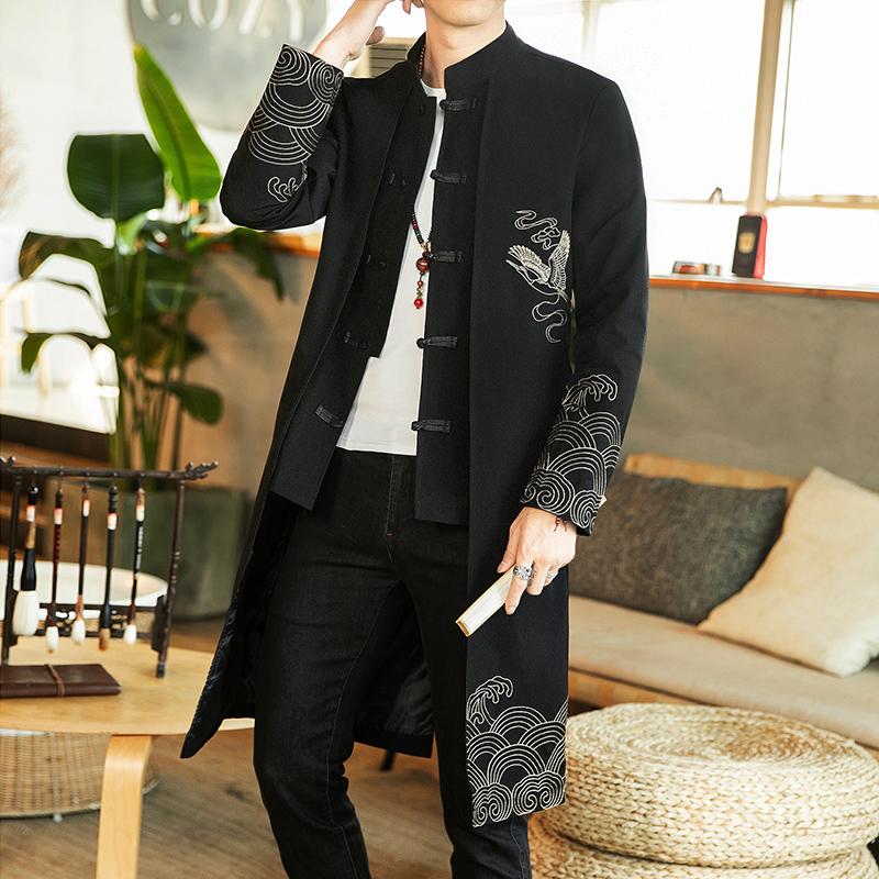 秋中国风男装复古风汉服仙气长袍中式长衫外套古装道袍青年唐装潮(用260元券)
