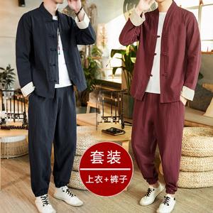 中国风青年唐装复古风佛系禅服汉服