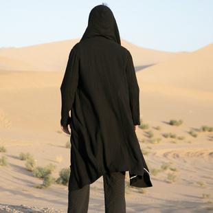道袍中國風唐裝男青年寬鬆棉麻中長款大碼改良連帽披風衣漢服長衫