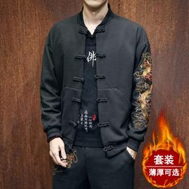 中国风男装龙刺绣外套复古风汉服大码中式棉衣潮牌套装青年唐装潮图片