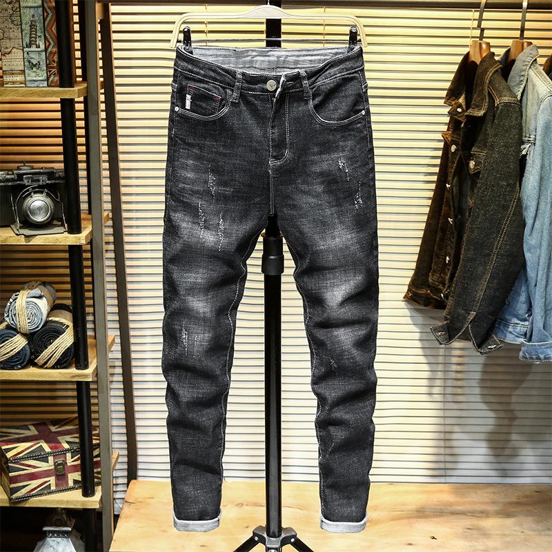 春季高端牛仔裤男机车刮烂抓痕水洗黑灰色修身小直筒潮流百搭休闲