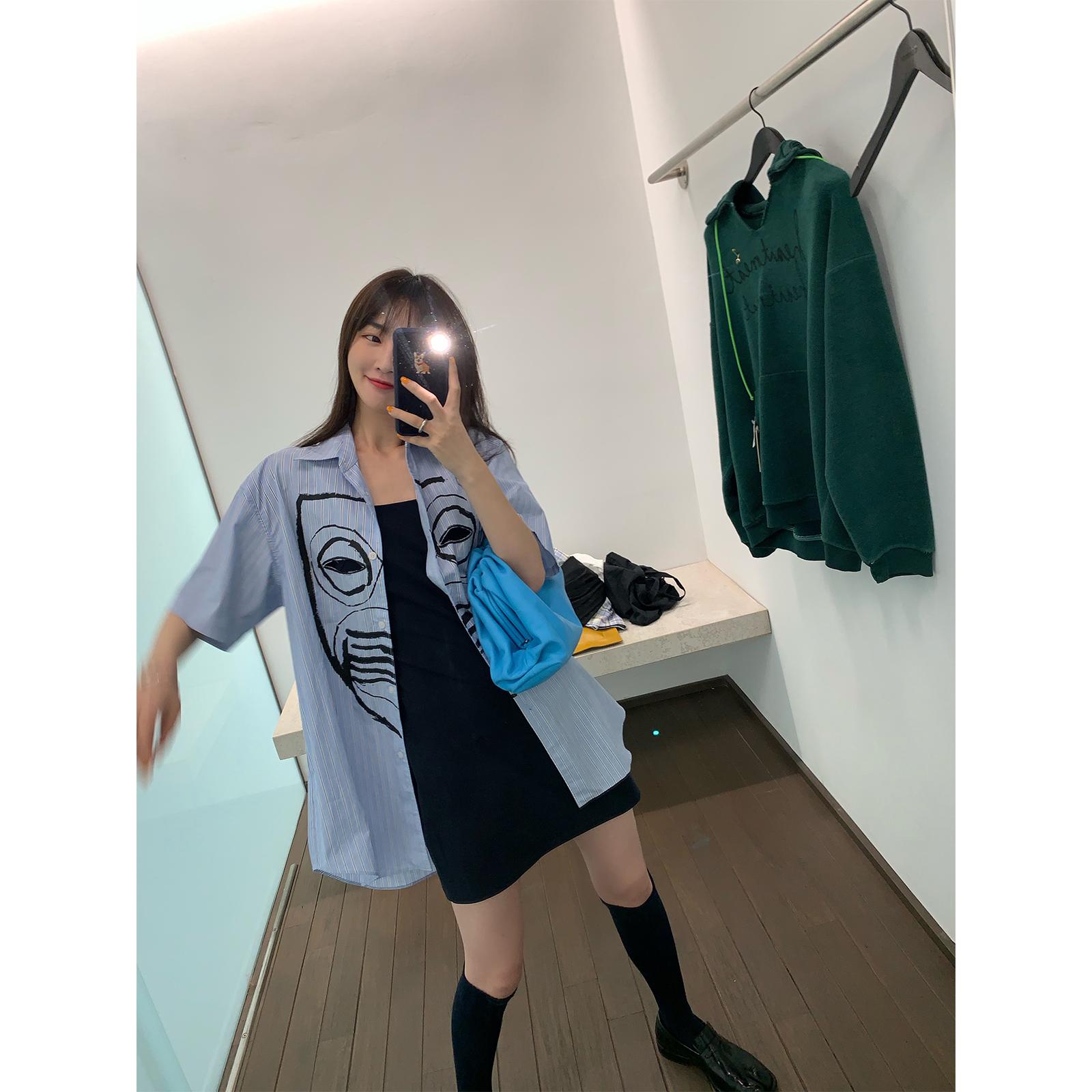 vcruan阿希哥 短袖衬衫女设计感小众复古港味宽松上衣竖条纹衬衣