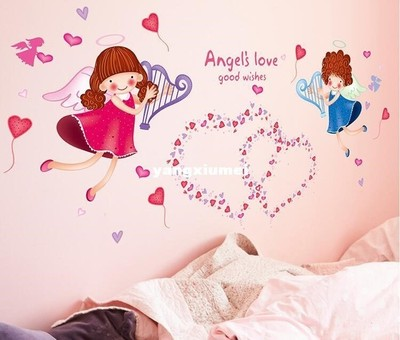 The Angel's Love Good Wishes Pink Blue Wall Stickers For Kid