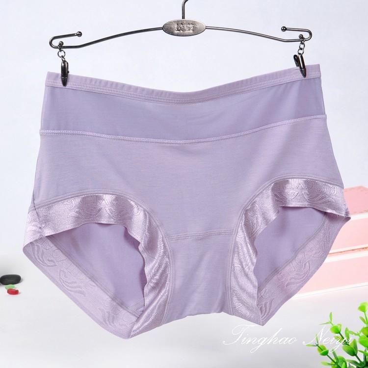 Womens medium and high waist underwear Qiao Yiting 66561 Pearl Fiber Modal large version traceless womens triangular shorts
