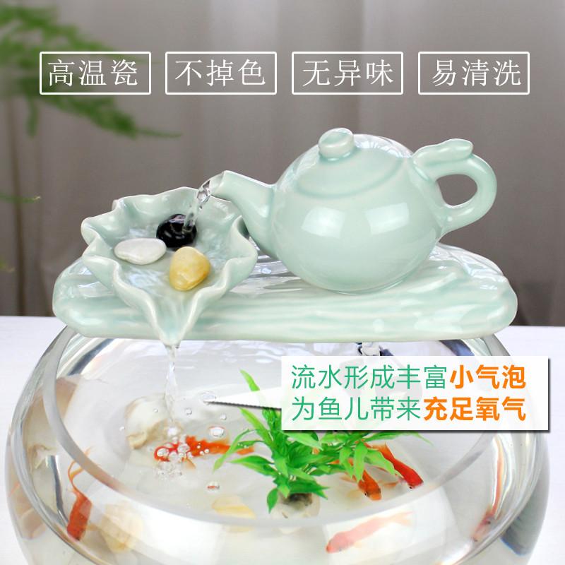 小鱼缸过滤器鱼盆循环增氧鱼池造景净水陶瓷竹排流水器加湿摆件