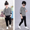 Kids Girls suits Autumn 2017 new Korean baby child striped two-piece Spring and Autumn girl clothes