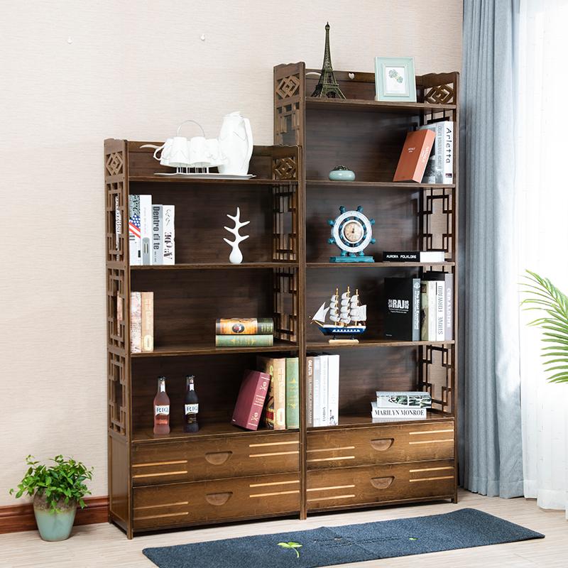 书架置物架简易学生家用经济型楠竹多层儿童书架落地实木简约书柜