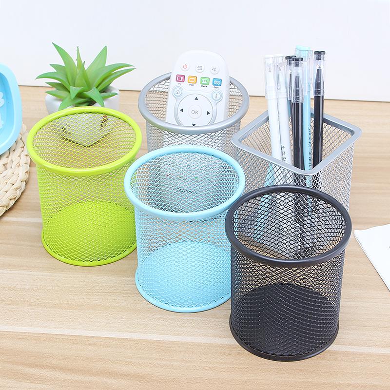 桌面笔筒 韩国创意文具时尚圆形金属铁制网状喷塑方形办公用品
