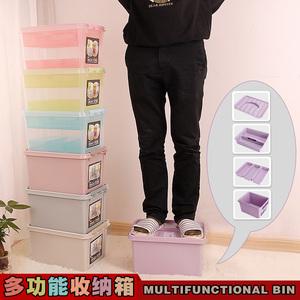 透明塑料收纳箱 手提有盖整理箱储物箱杂物食品收纳盒双层内衣箱