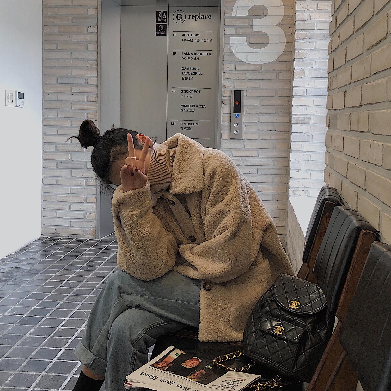 小玉酱 2018流行冬季chic仿羊羔毛外套女短款韩版麂皮小个子大衣