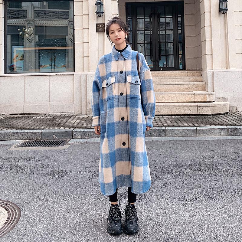 大货爆冬季流行彩色格子羊毛呢大衣可主推320A-8C06P185控268,女装毛呢外套,浙宝320A