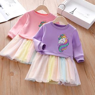 女童连衣裙2021秋冬新款冬季加绒卡通图案小女孩外穿长袖彩虹裙子