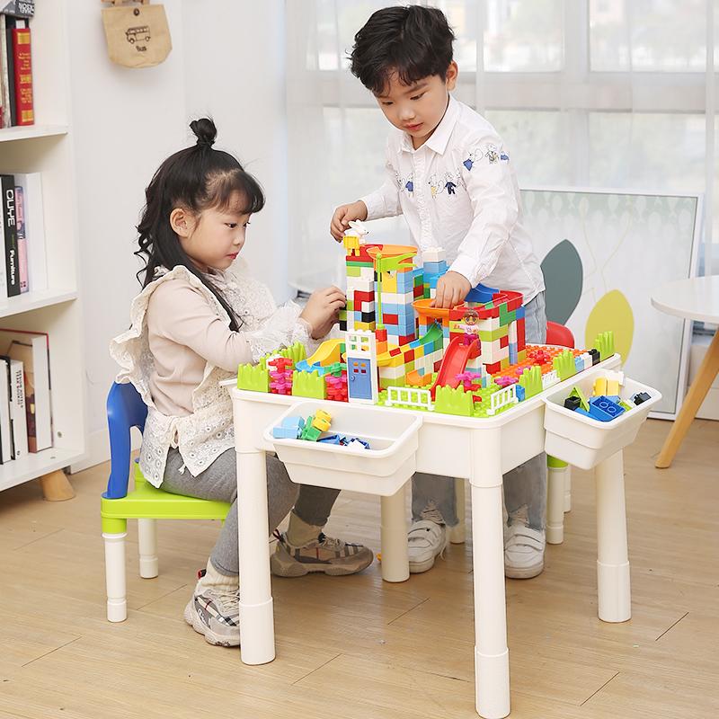 多功能积木桌子男孩子3-6-7女孩2周岁礼物儿童益智拼装玩具