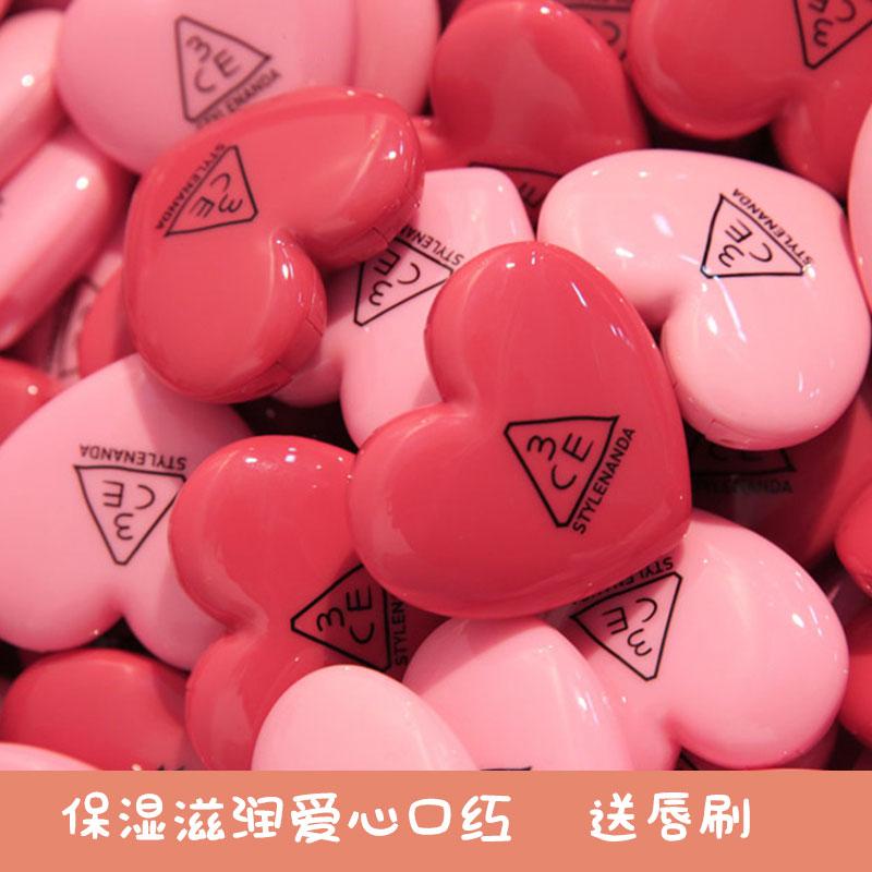 韩国3ce爱心唇膏心型口红礼物红豆沙色滋润保湿学生少女抖音表白