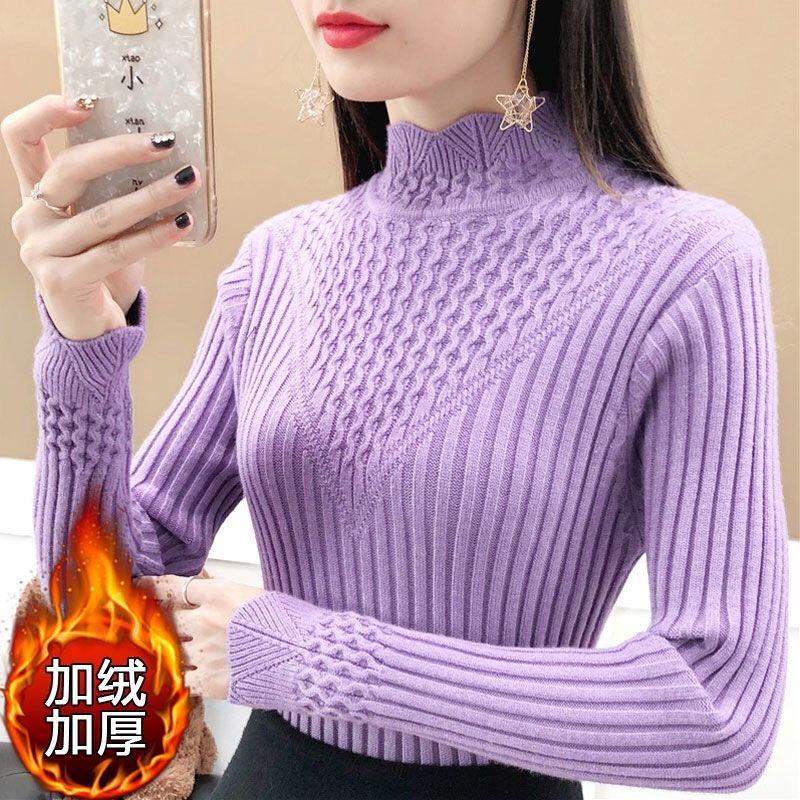 秋冬新款半高领毛衣女加绒加厚针织衫