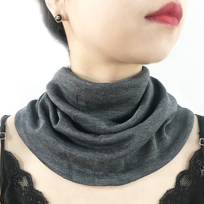 Thickened wool and mulberry silk scarf neck for women in spring and autumn and winter