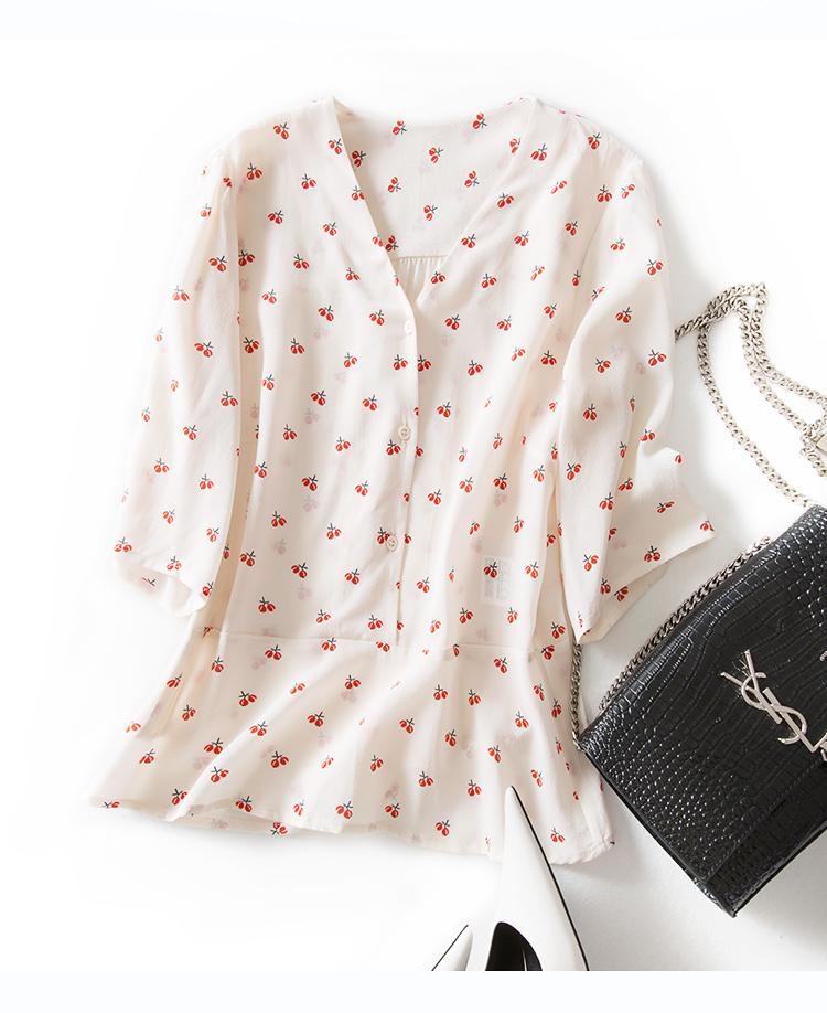 莎拉精选 法式peplum摆 显瘦立裁收腰 樱桃碎花真丝衬衫上衣短袖S