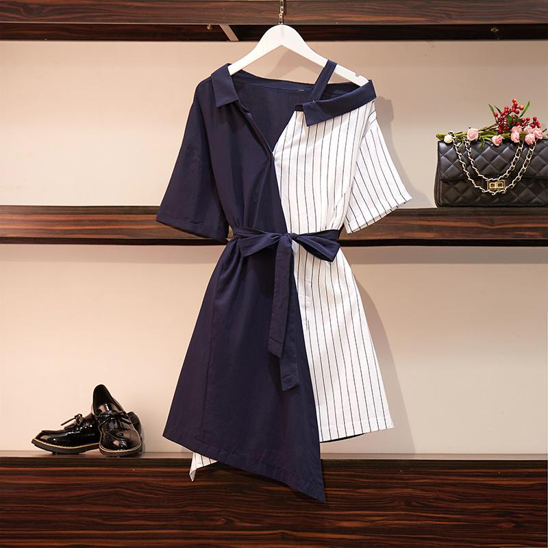 胖妹妹大码遮肚连衣裙洋气减龄时髦宽松显瘦气质萝莉网红女夏装12-01新券