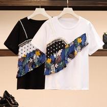 大码女装夏装新款胖mm设计感荷叶边拼接短袖T恤最爱减龄显瘦上衣