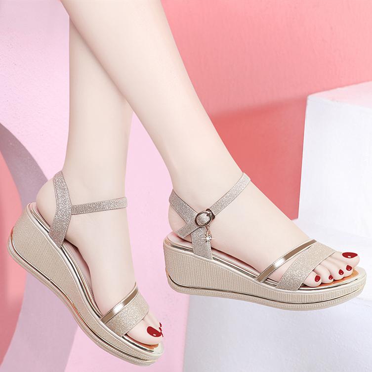 2020 summer new versatile muffin ROMAN SANDALS fairy fashion high heel slope sandals