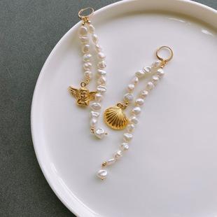 【19th】天使貝殼鈦鋼鍍真金耳環天然珍珠巴洛克不對稱復古耳飾