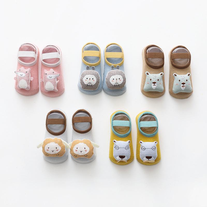 21春夏新款儿童地板袜卡通宝宝婴儿硅胶防滑学步袜绑带鞋袜袜子