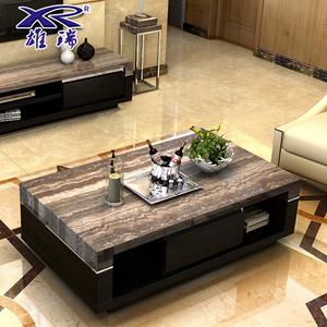 雄瑞简约现代洞石电视柜客厅大理石电视机柜茶几家具组合套装