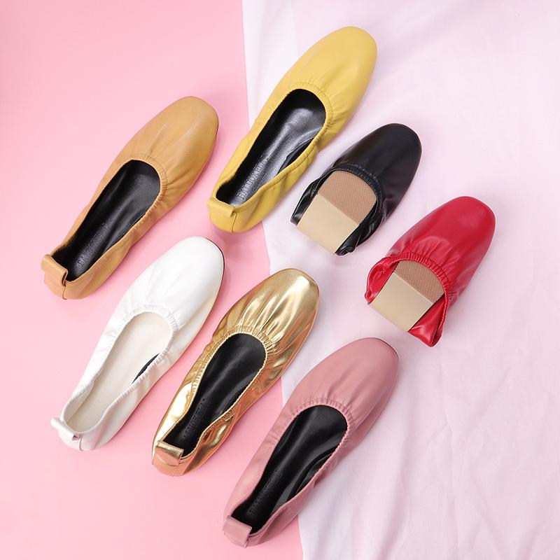 奶奶鞋女平底鞋2019夏蛋卷鞋软皮浅口复古网红单鞋一脚蹬大码女鞋