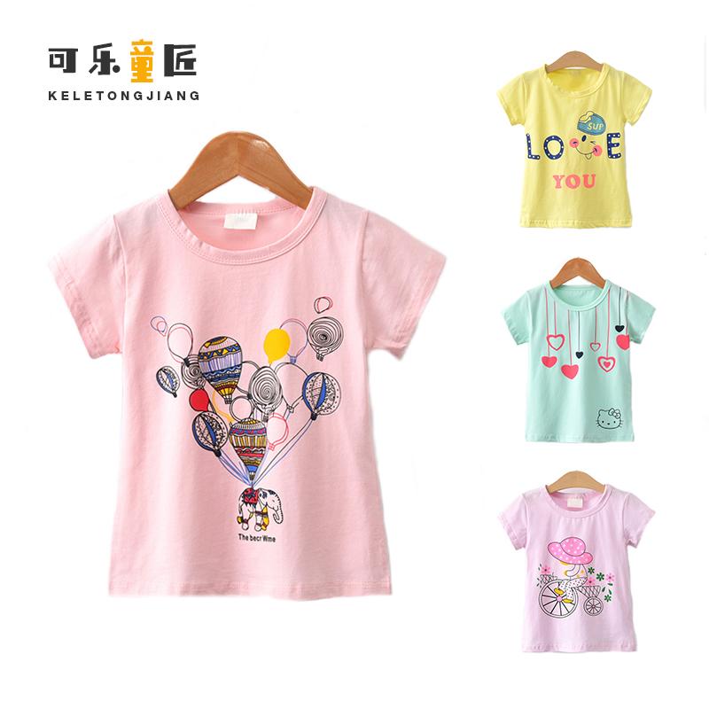 可乐童匠2018新款童装女童夏装T恤上衣短袖卡通厂家直销打底衫