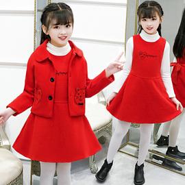 女童春秋外套加厚时髦套装韩版毛呢连衣裙洋气呢子儿童背心两件套