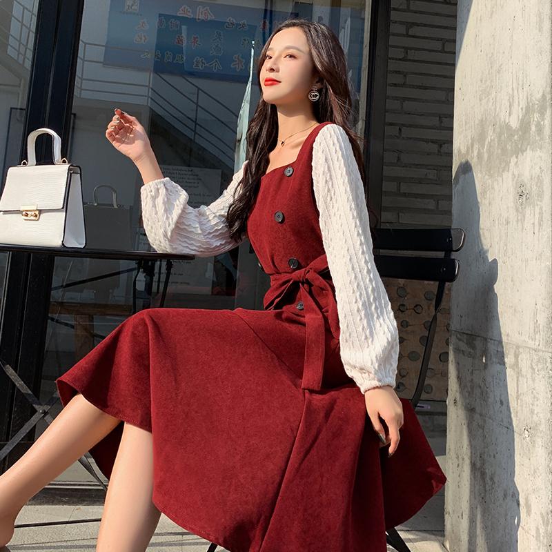 实拍2019秋冬新款双排扣复古红裙假两件拼接灯笼袖收腰显瘦鱼尾裙