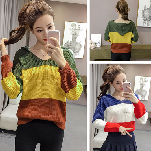 2018 new autumn / winter sweater womens Korean version loose color contrast stripe hollow out long sleeve thin Sweater Hoodie