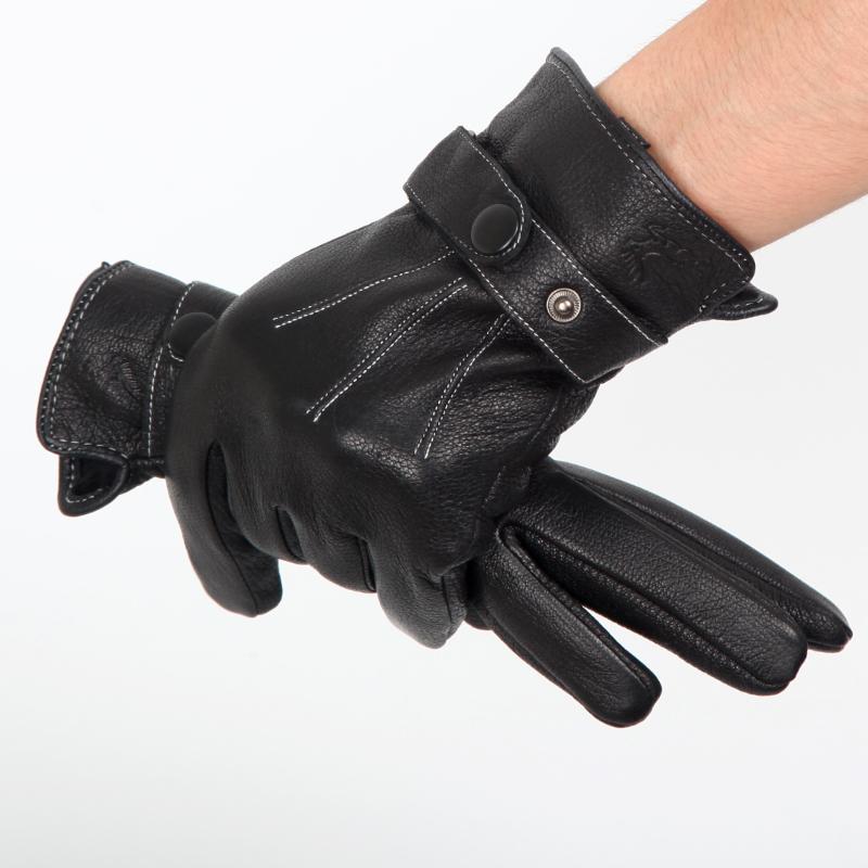 真鹿皮手套男士冬季新品保暖加绒加厚款防寒防冻开车骑行防风机车